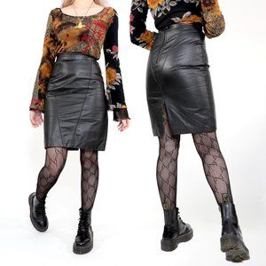 90s LEATHER PENCIL BODY-CON SKIRT
